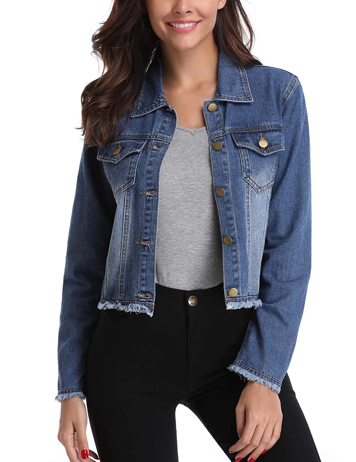 MISS MOLY Womens Jean Jackets Button up Turn Down Collar Frayed Denim Washed Crop Coat Warm in Winter