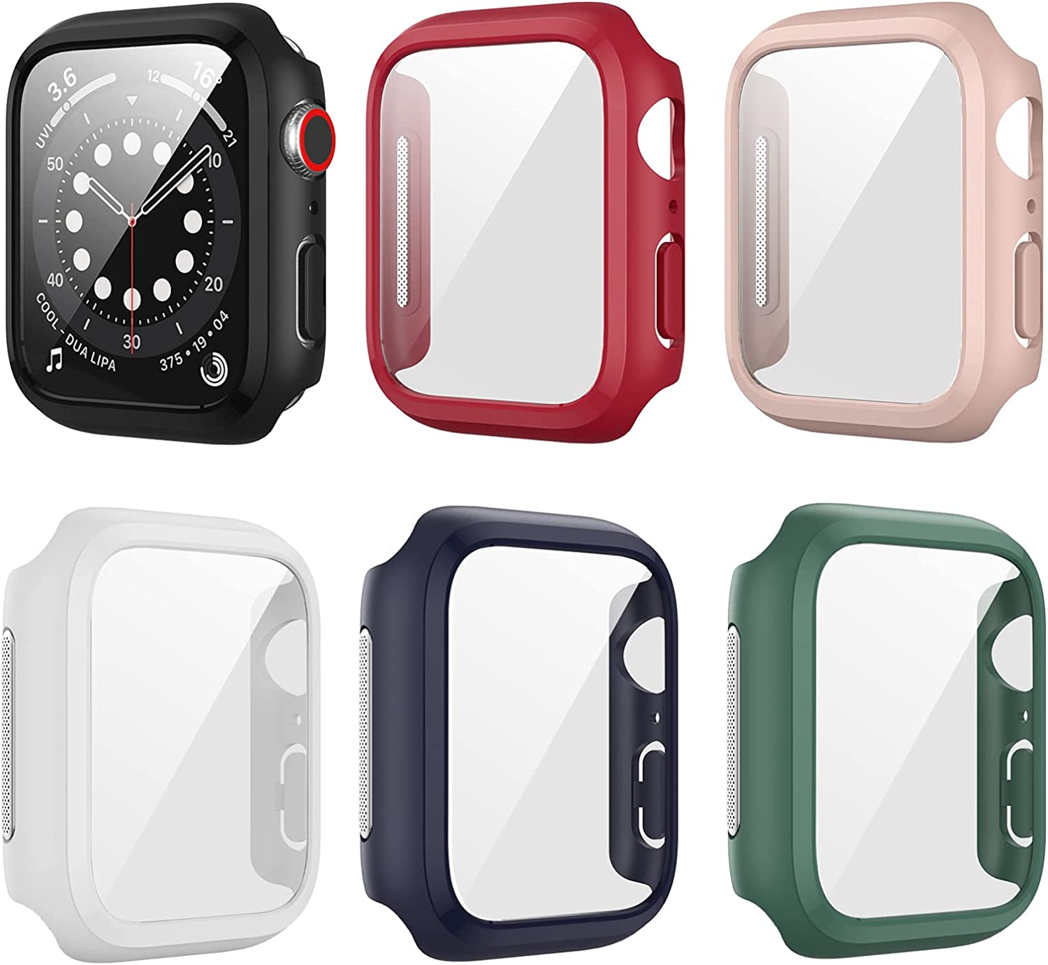 6 Pack Case for Apple Watch 40mm Series 6 5 4 SE with Tempered Glass Screen Protector, Haojavo Dustproof Metal Mesh Hard Ultra-Thin Scratch Resistant Protective Cover for iWatch Accessories