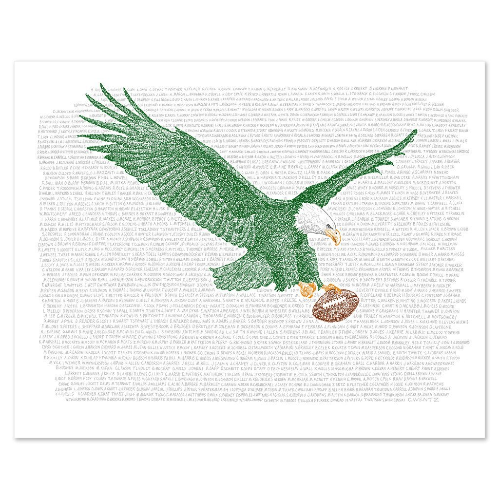 Philadelphia Eagles All Time Roster Word Art Print – Handwritten with The Names of Every Eagles Player in History – 16 x20 – Great Gift – Eagles Artwork