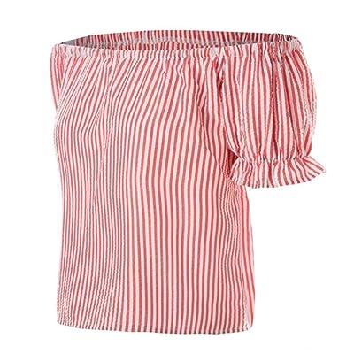 Été Femmes Haut Fashion Rayée Court Chemisiers Sport T-Shirt Casual Dénudée Épaule Manches Courtes Crop Tops Blouse