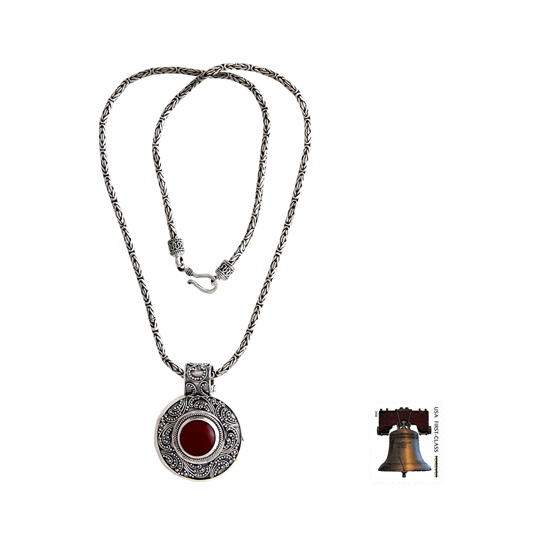 NOVICA Carnelian .925 Sterling Silver Pendant Necklace, 19.75 Luxury