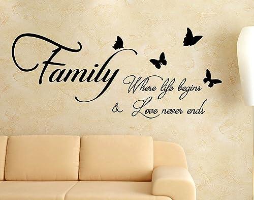 Adesivi Murali Frasi Family Love Famiglia Dove La Vita