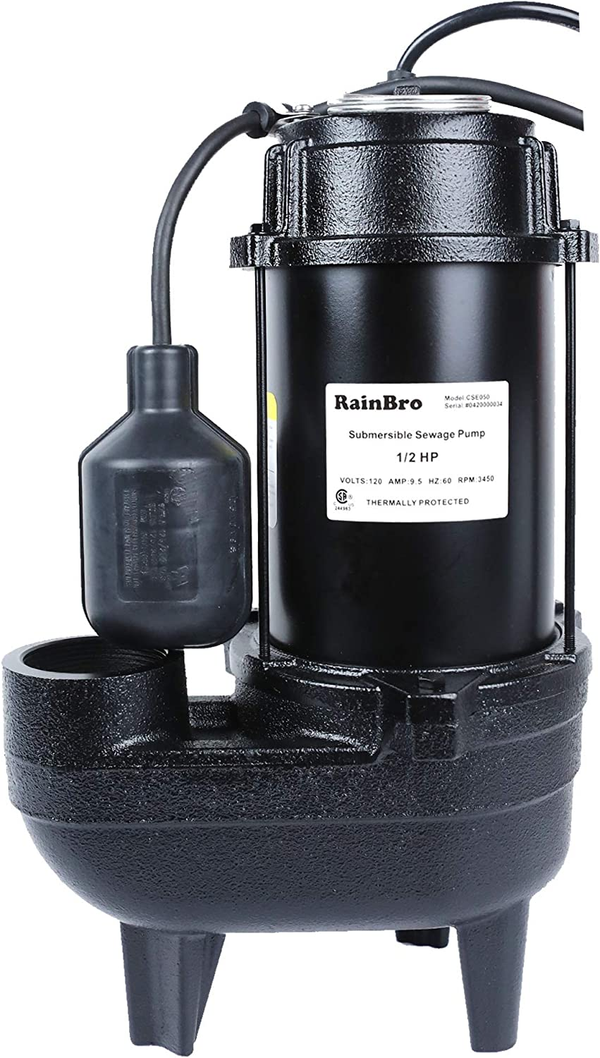 RainBro 1/2 HP Cast iron submersible sewage pump with 10 ft. piggy back tether float switch,Model# CSE050