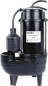 RainBro 1/2 HP Cast iron submersible sewage pump with 10 ft. piggy back tether float switch,Model# CSE050
