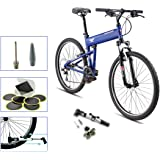 Montague Paratrooper Express Folding Bike, Air Force Blue With Outdoors Equipments Handheld Mini Bike Pump & Tire Puncture Repair Kit