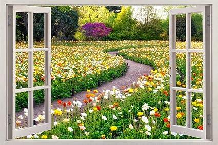 Flower Garden 3D Window View Decal WALL STICKER Home Decor Art Mural C638,  Giant