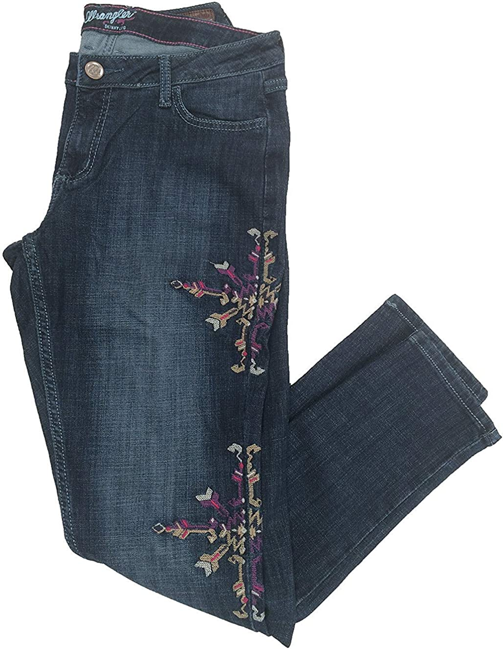 Wrangler Women's Premium Patch Mae Embroidered Skinny Leg Above The Hip Jean