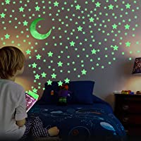 Glow in The Dark Stars for Ceiling - AirXwills 200 Pcs Stars for Ceiling with Ultra Brighter Glow Moons Wall Decor, Kids…