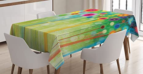 Amazon com: Ambesonne Flower Tablecloth, Abstract Dandelion