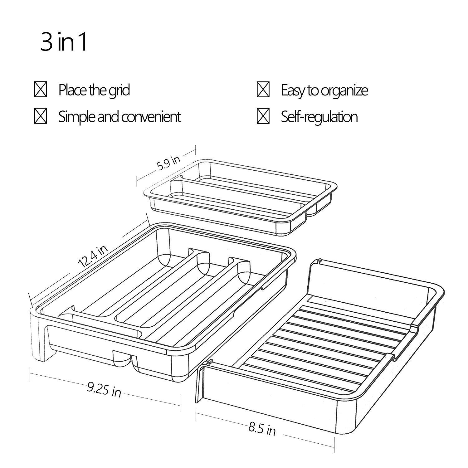 HornTide 3-in-1 Drawer Tray Expandable Utensil Storage Organizer ...