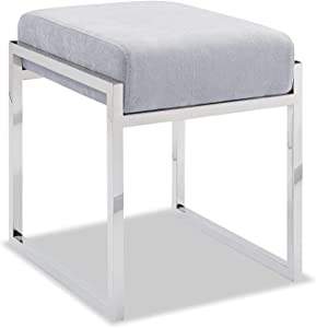 Whiteline Modern Living Milan Contemporary Ottoman Gray, Charcoal Fabric or White Faux Leather and Polished Stainless Steel Legs, Light Grey