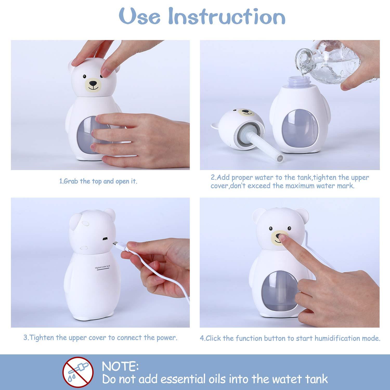 Dormitorio Apagado para el el hogar humidificadores ultras/ónicos de Aire con alimentaci/ón USB SmartDevil Humidificador 160ml la Oficina los Viajes en autom/óvil la habitaci/ón del beb/é. el Yoga