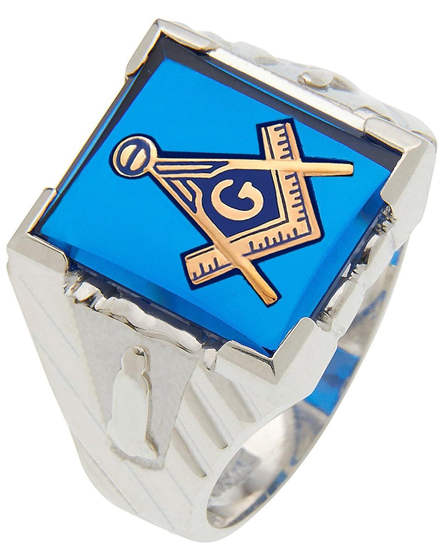 Men's 0 925 Sterling Silver or Vermeil Masonic Blue Lodge Solid Back