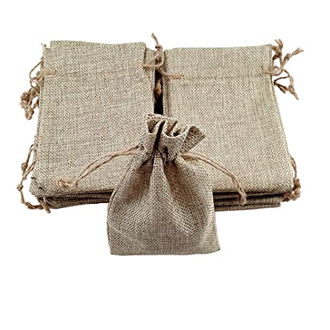 MULOVE 24 bolsitas de Yute con cordón - 10 x 15 cm algodón ...