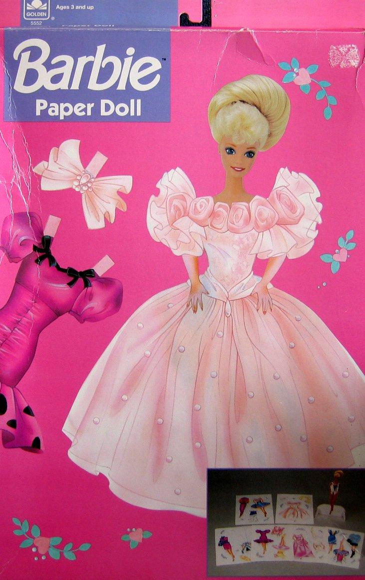 Barbie Paper Doll Set w 12.5'' Cardboard Doll & Stand (1991)