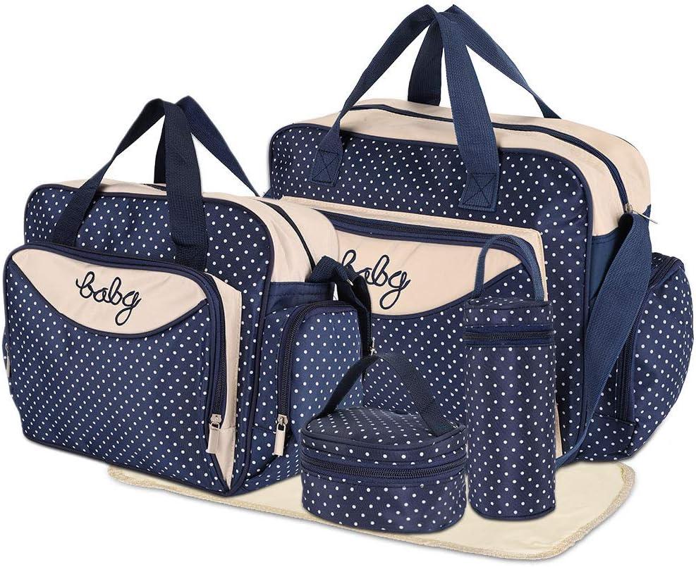 HALOVIE Baby Changing Bag for Mum 5pcs Nappy Bag Dry Wet Diaper Shoulder Bag Hospital Bag Large Travel Bag with Handles Many Pockets