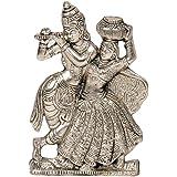 Little India Antique White Metal Lord Radha Krishna Idol (15.24 cm x 10.16 cm, HCF311)