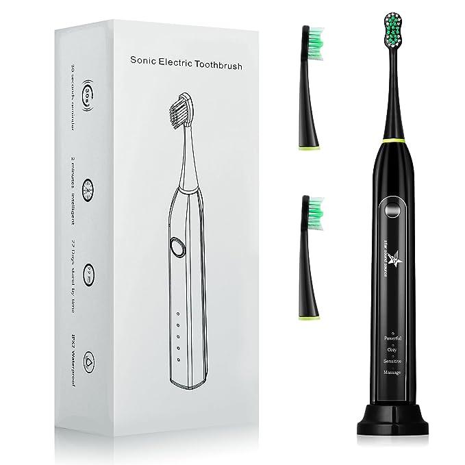 Cepillo de dientes eléctrico de Sonic para el poder recargable, con 2 cabezas del cepillo de reemplazo, 4 modos opcionales (black): Amazon.es: Salud y ...