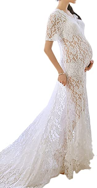 9a71dbb47b14 Hopeverl Maternity Photography Prop Sexy Maternity Dress Fancy Maternity  Lace Dress White: Amazon.ca: Clothing & Accessories