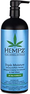 product image for Hempz Triple Moisture-Rich Herbal Whipped Creme Conditioner and Hair Mask for Women and Men, 33.8 oz. - Premium, Natural Moisturizing Conditioners to Repair Dry, Damaged Hair - Scented Hair Care