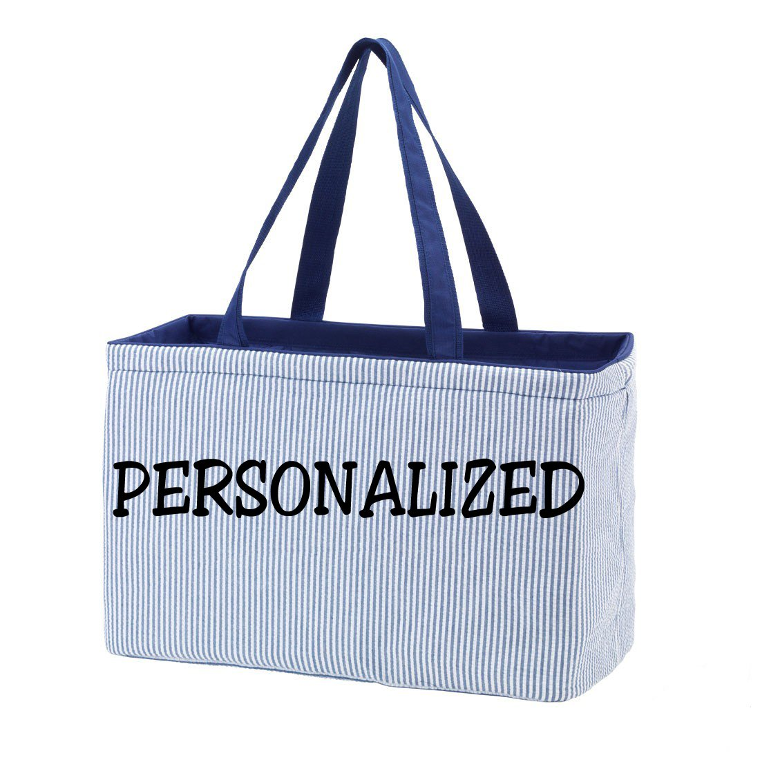 Fashion Print Ultimate Tote - Carry All Organizer Bag - A Tailgate MustCan Be Personalized (Personalized, Navy Seersucker)