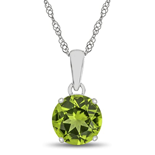 Finejewelers Solid 10k White Gold 7mm Round Center Stone Pendant Necklace