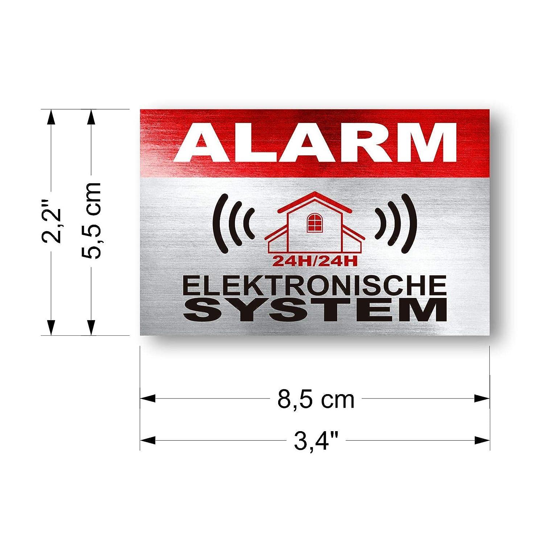 imaggge.com - Pegatinas disuasorias con Sistema electrónico de Alarma (12 Unidades, 8,5 x 5,5 cm)