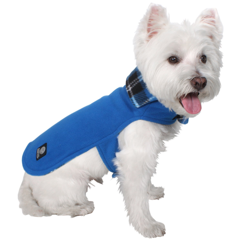 AKC-American Kennel Club Premium Reversible Plaid Fleece Cozy Coat, Medium, Blue