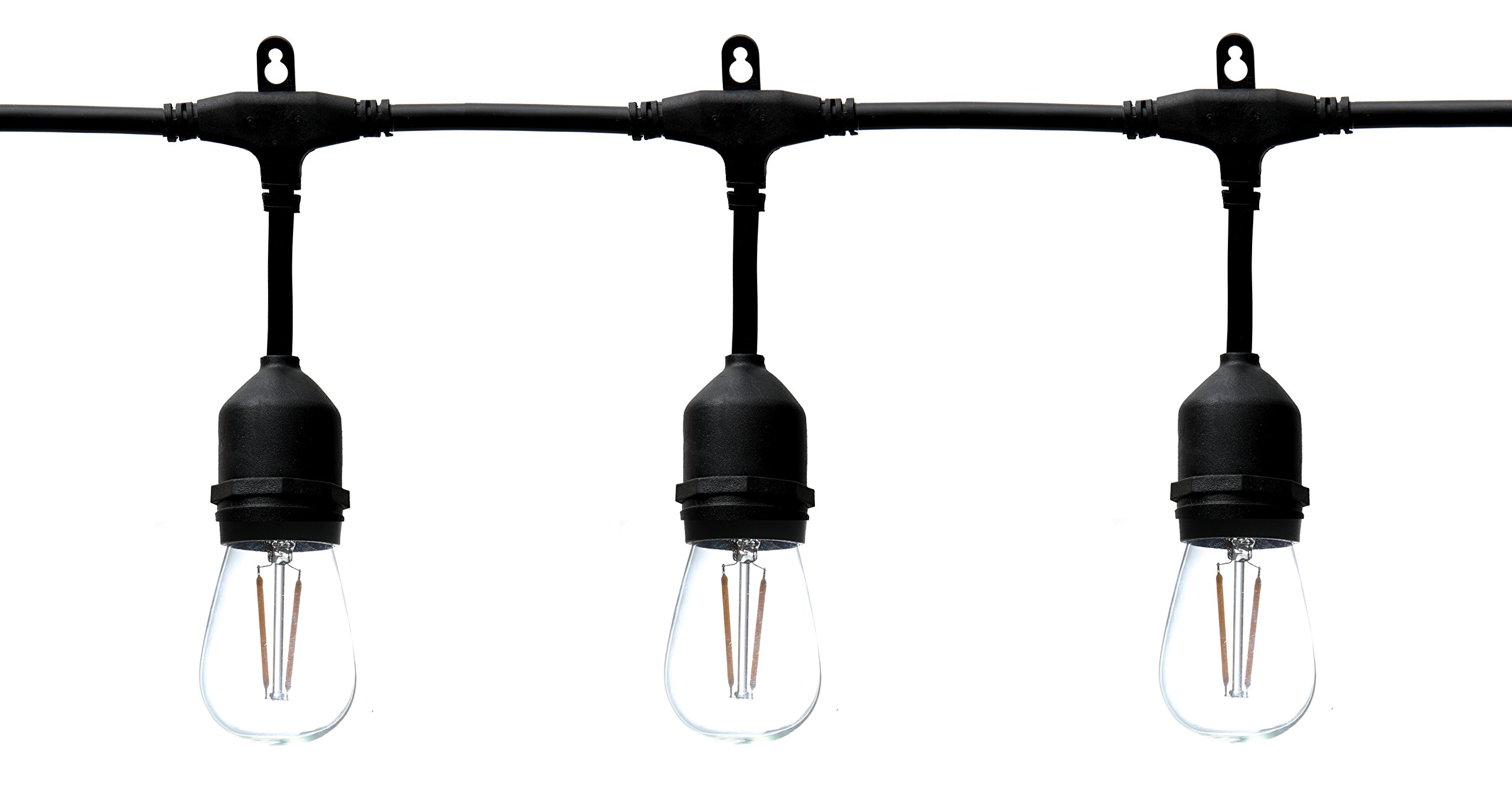 KOR LED Weather-Proof Commercial Grade LED Outdoor String Lights - 48 Ft Long with 15 Hanging Sockets - 18 LED 2-Watt Filament Bulbs (3 Extra LED Bulbs Included) – Patio Edison Vintage S11