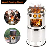Fihome Wood Burning Camping Stove, Updated 2018 Stainless Steel Portable Collapsible Lightweight Survival Backpacking Stove for Outdoor Camping Hiking Climbing and Fishing