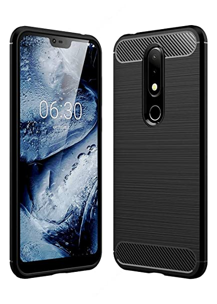 quality design 224df 1bc20 REALIKE Nokia 6.1 Plus Back Cover, Ultimate Protection from Drops, Durable,  Anti Scratch Litchi Carbon Fiber Back Cover for Nokia 6.1 Plus (Black)