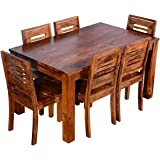 Mamta Decoration Sheesham Wood Wooden Dining Table With 6 Chairs | Home And Living Room | Teak Finish | Brown