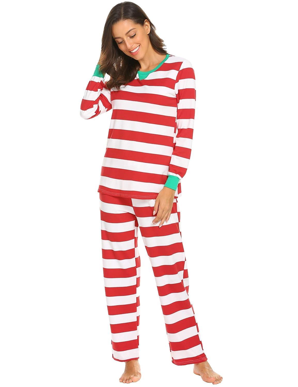 8545443c06 MAXMODA Pyjamas Langarm Nachtwäsche Xmas Streifen Schlafanzug Sleepwear  Sweater Set Familie Kleidung Damen Herren Kinder Mädchen Jungen AHK009571  ...