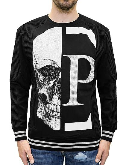 0711c9d2f58c7 Philipp Plein - Hoshi - Crewneck Sweatshirt with Crystal Rhinestones Skull  Print (S) Black