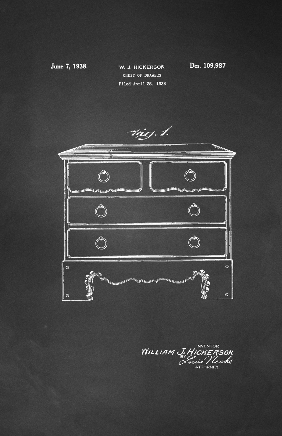 Amazon.com: Framable Patent Art PAPSSP162C The Original Poster Art Print  Vintage Furniture Chest of Drawers 11in by 17in Patent, Chalkboard: Home ...