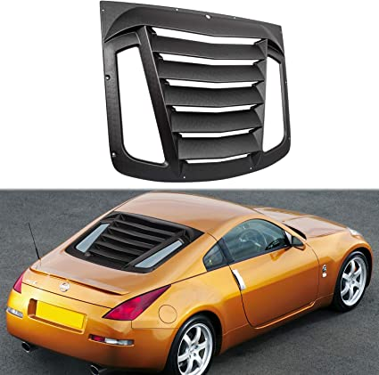 Opall Rear Window Louvers Windshield ABS Window Scoop Cover Rain Sun Guard in Matte Black for Nissan 350Z 2003-2008