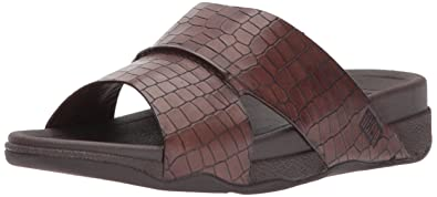 d7deca4db59a FitFlop Men s Bando Leather Croc Slide Sandal