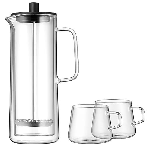 WMF Coffee Time Cafetera de pistón y dos tazas, Acero, Cristal ...