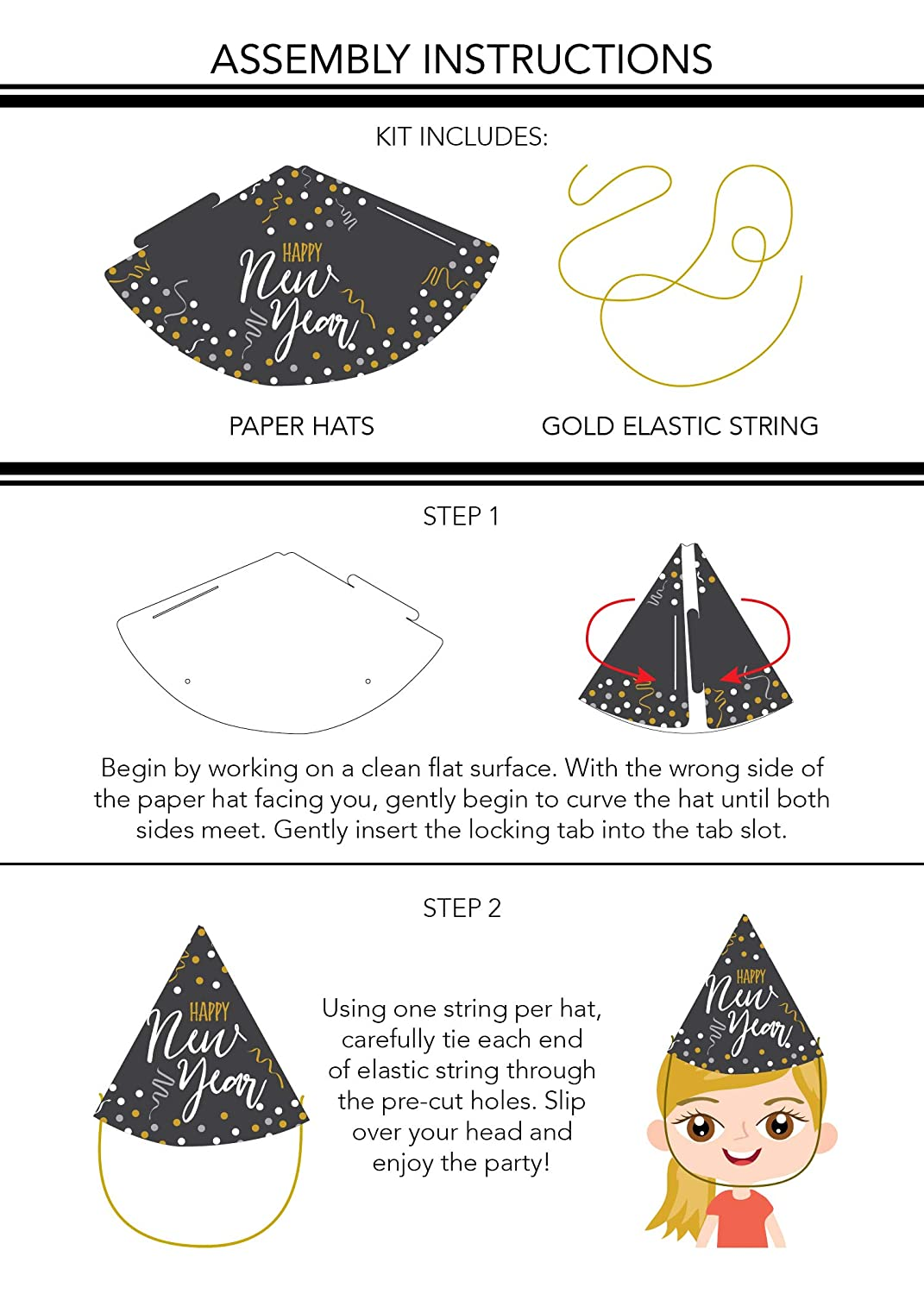 Easy Assembly 24-Pack Cone Shaped Paper Hats Holiday Supplies 4.6 x 7 Inches Juvale New Years Eve Party Hats Includes Gold Elastic String For Kids and Adults Black with Confetti Design