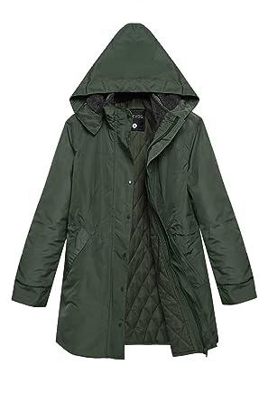ACEVOG Women Winter Warm Thick Front-Zip Hooded Parka Coat Outdoor ...