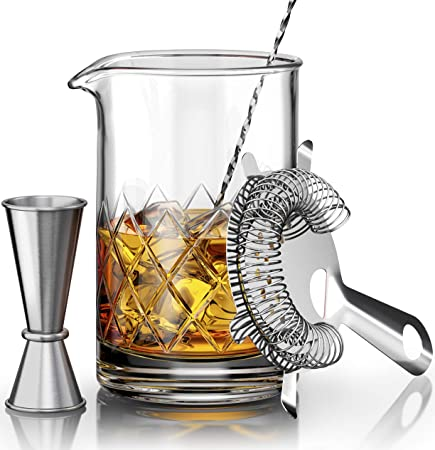 Crystal Cocktail Mixing Glass Set – Includes Mixing Spoon, Strainer, Jigger and 18oz 550ml Cocktail Glass – Sturdy, Thick Base – Perfect for Amateurs Pros – Great Gift