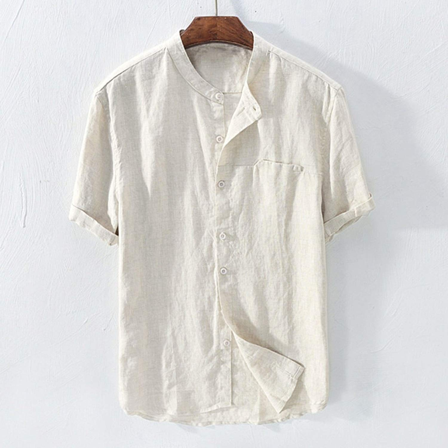 Shirt Men Summer Short-Sleeved Baggy Cotton Linen Solid Button Beach Shirts A17
