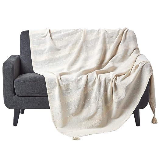HOMESCAPES Funda de sofá/Manta, Hecho a Mano 100% de algodón ...