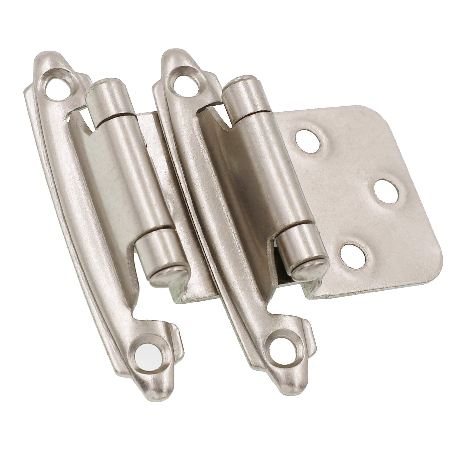 Lot of 25 Pairs (50pcs) Self Closing OVERLAY Flush Cabinet Hinges - Satin Nickel