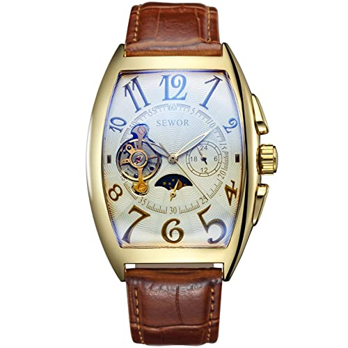 SEWOR Mens Automatic Business Dress Tonneau Moon Phase Wrist Watch Mechanical Self Wind