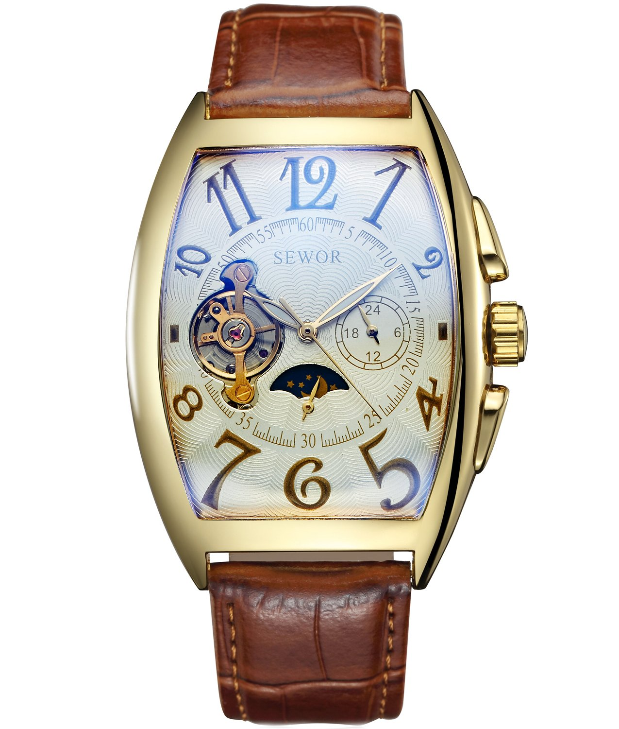 SEWOR Mens Automatic Business Dress Tonneau Moon Phase Wrist Watch Mechanical Self Wind (Gold-1)