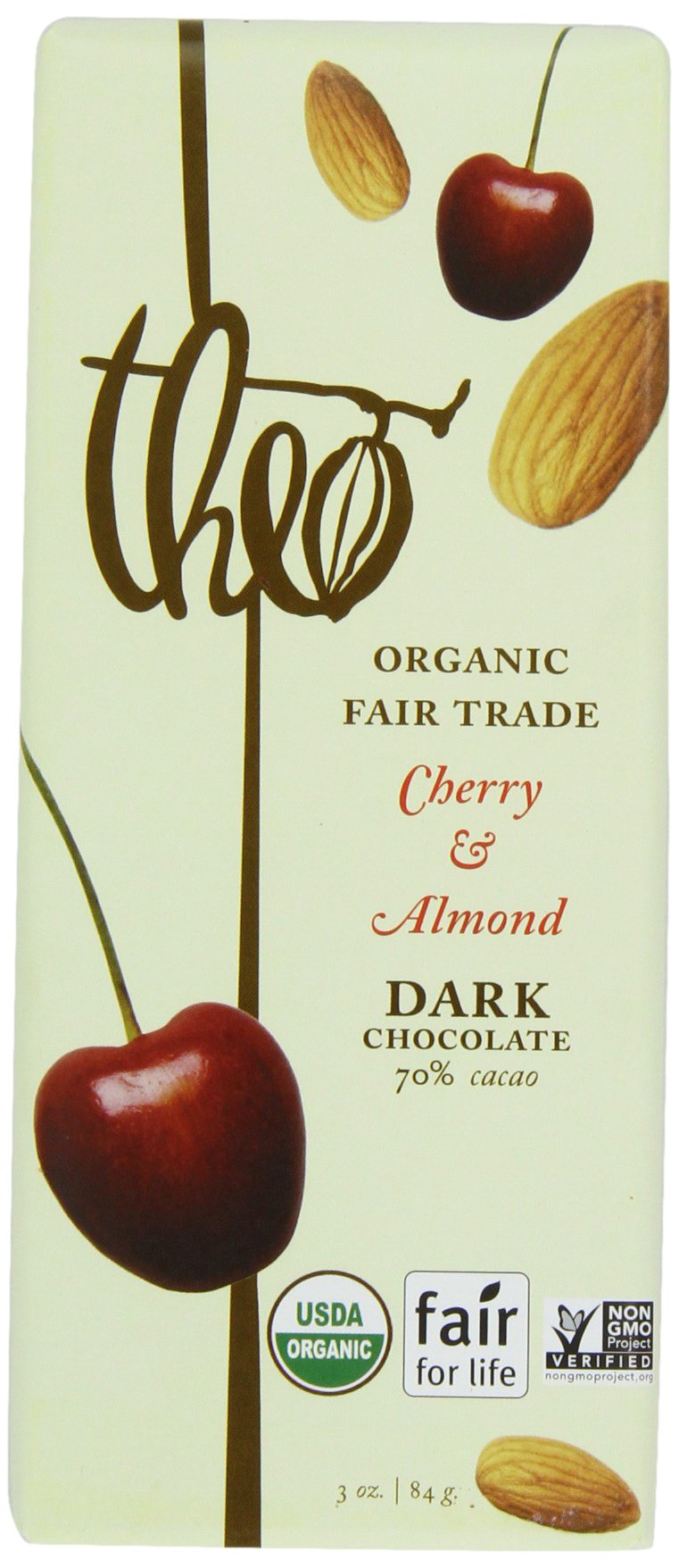 Theo Classic Organic Dark Chocolate (70% Cacao) with Cherry & Almond, 3-Ounce Bars (Pack of 12)