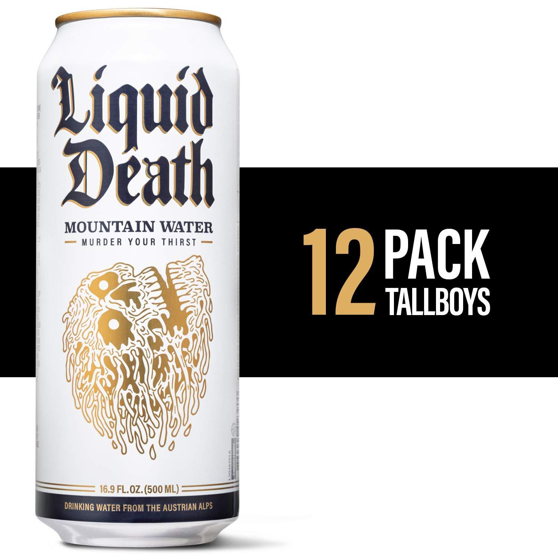 Liquid Death Mountain Water, 16.9 oz. Tallboys (12-Pack)