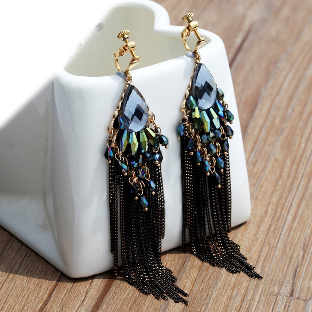 CNCbetter Women Fashion Charms Black Crystal Charms Long Dangle Tassel Screw Back Clip On Earring