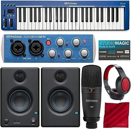 PreSonus PS49 - Teclado MIDI USB 2.0 con interfaz de grabación de audio Presonus AudioBox USB 96, software Studio One Artist 3 DAW para Mac y Windows, ...
